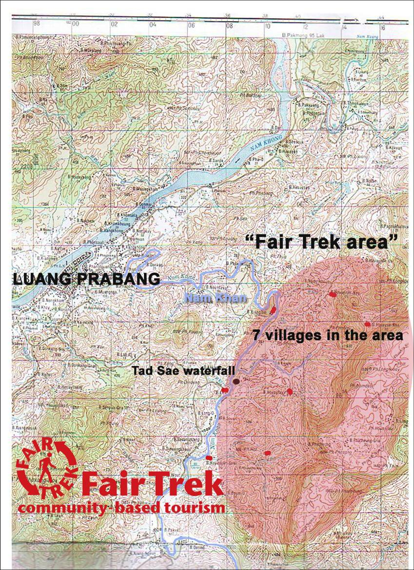 carte de la zone de randonnée Fair Trek au Laos